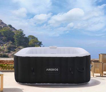 5 / Arebos Piscina de hidromasaje   Jacuzzi   hinchable   cuadrada   para interior y exterior   4 personas   130 chorros de masaje